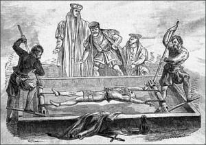 Victim tortured on the rack.
