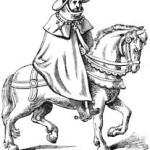 Merchant travels by horseback.