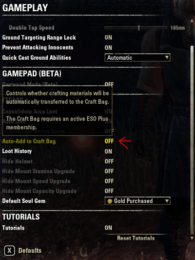 New Crafting Bag Setting added in 2.6.0