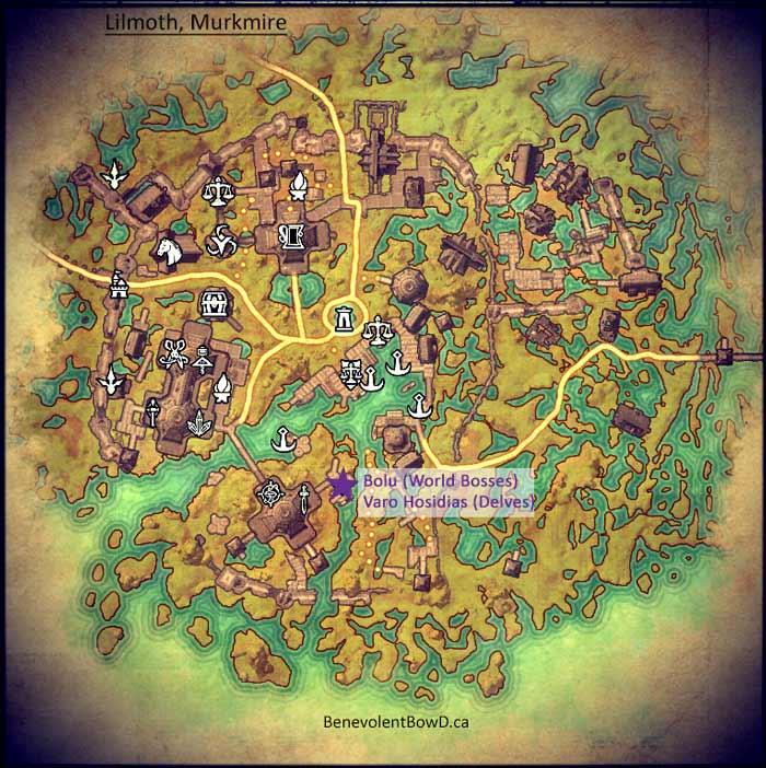 Map Lilmth, Murkmire Elder Scrolls Online Dailies NPC
