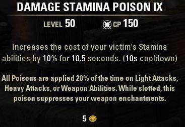 Damage Stamina Poison IX Tooltip