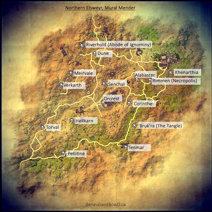 Map - Northern Elsweyr shows locations of Mended Mural Fragments